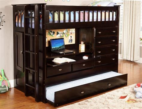 wood loft bed w 4 drawer chest storage closet desk