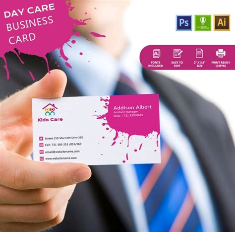 simple day care business card template  premium