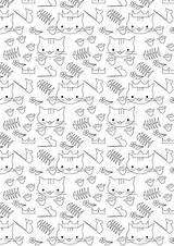 Coloring Cat Printable Paper Pages Spring Meinlilapark Papers Pattern Ausdruckbares Freebie Printables Birthday Wrapping Diy Geschenkpapier Ein sketch template