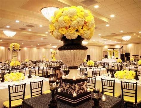 black white and yellow reception wedding flowers wedding