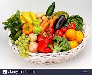 BASKET OF FRESH FRUIT AND VEGETABLES CUT OUT Stock Photo ...