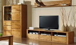 Meuble Tv En Bois Massif Haut De Gamme 3 Tiroirs 3 Niches