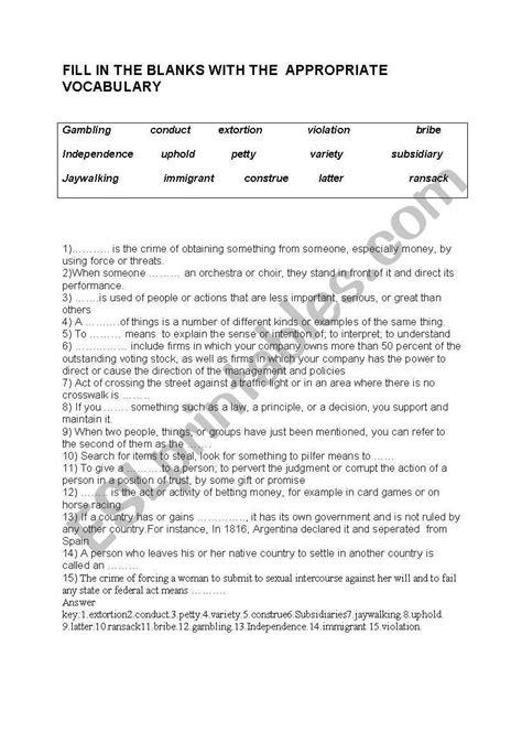 vocabulary worksheet  business english  answer key
