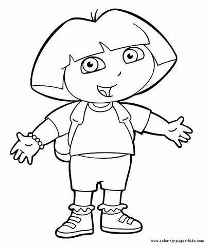 Coloring Pages Dora Explorer Character Cartoon Printable