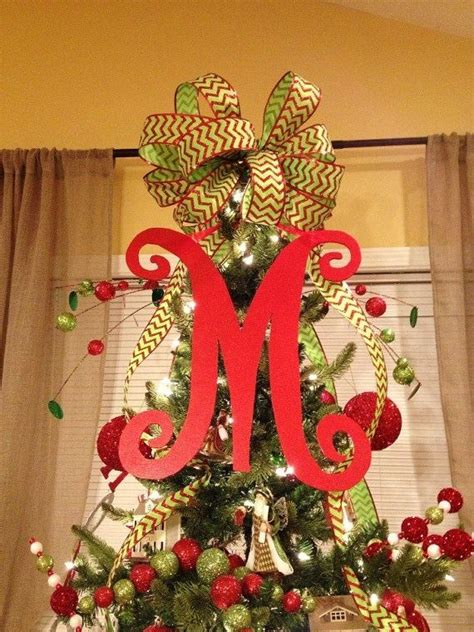 letter christmas tree topper tree topper doing this for next year this i already just do a bow but this is much cuter