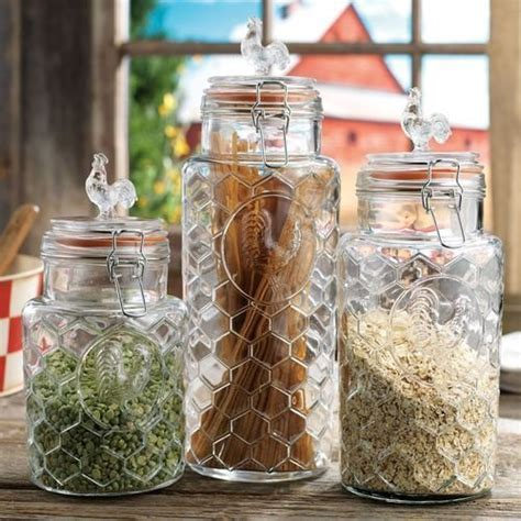 Set of 3 Glass Rooster Canister Assorted Size Jars with