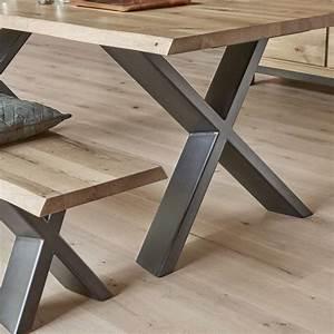 Table En Metal : table de salle manger moderne extensible en ch ne massif et m tal pieds en x forest 4 ~ Teatrodelosmanantiales.com Idées de Décoration