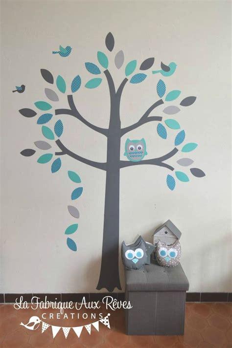 chambre bebe pin stickers arbre turquoise pétrole gris hibou oiseaux