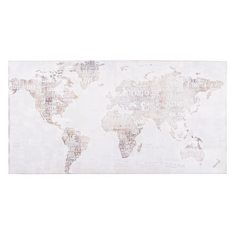 toile carte du monde 50 x 98 cm world on papers maisons du monde