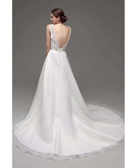 Cheap Gorgeous Backless Wedding Dress Beaded With Lace