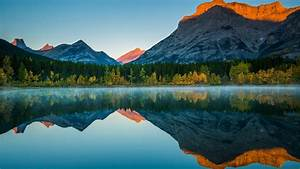 Ash, And, Orange, Covered, Mountain, Reflection, In, Lake, Around