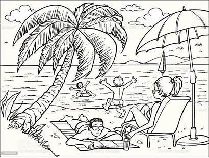 Beach Clip Vector Cartoons Illustration Drawing Activity