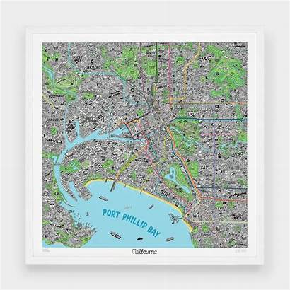 Melbourne Drawn Hand Map Evermade