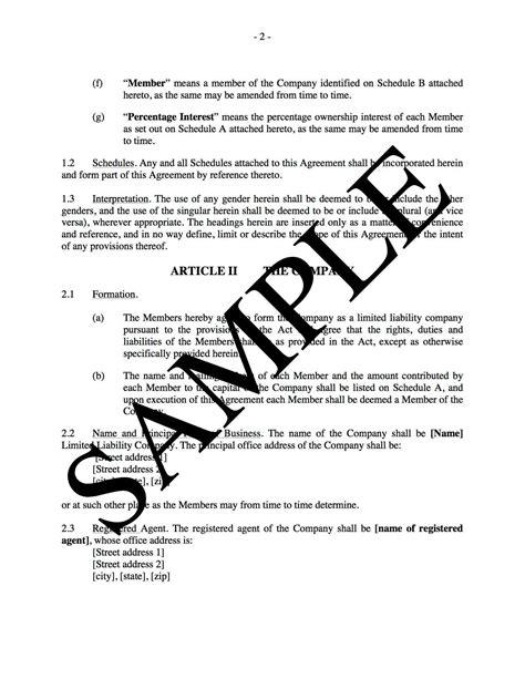 llc operating agreement  real estate development