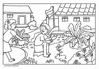 Lingkungan Mewarnai Gambar Sekolah Anak Contoh Untuk