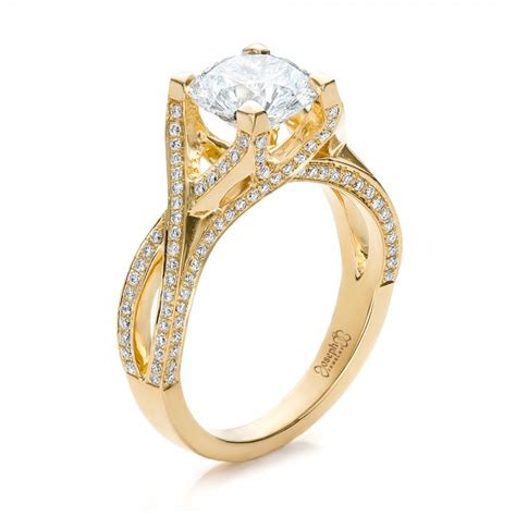 custom diamond and yellow gold engagement ring 100565