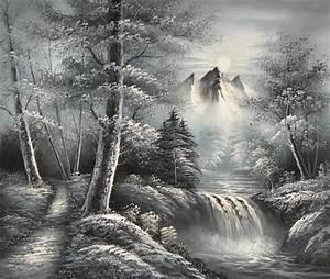 Peinture En Noir Et Blanc : tableau montagne noir et blanc peintures de montagnes ~ Melissatoandfro.com Idées de Décoration