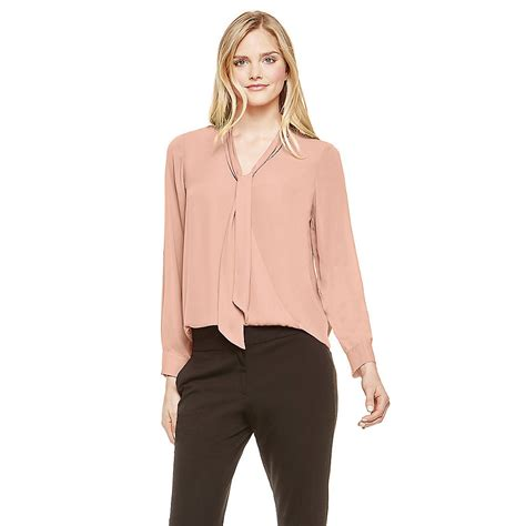 bow neck blouse vince camuto pink wrap front tie neck blouse in lyst