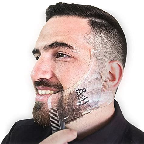 beard shaping all in one beard grooming kit transparent beard shaping template tool with two built in combs