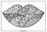 Lips Coloring Zentangle Printable Pdf Whatsapp Tweet sketch template