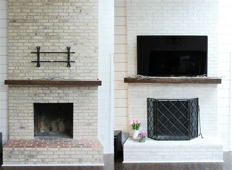 Easy Brick Fireplace Makeover - how to whitewash your brick fireplace with milk paint