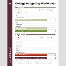 Budget Worksheet Collegiateparent