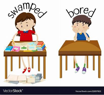 Bored Opposite Clipart Swamped Word English Boring