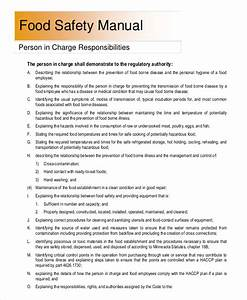 Sample safety manual 7 documents in word pdf for Food safety manual template