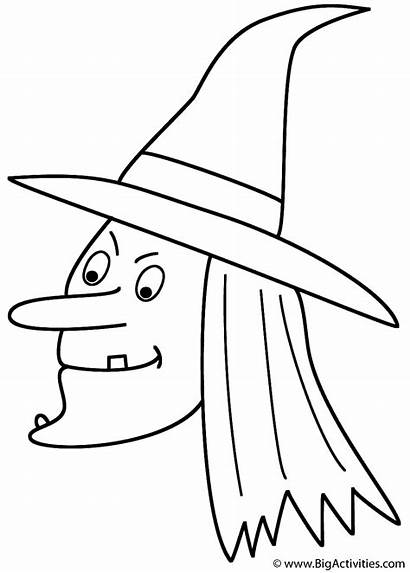 Witch Coloring Halloween Pages Witches Printable Face