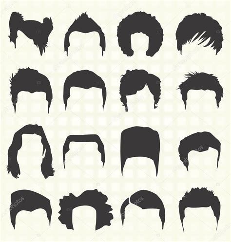 vector set mens hairstyle silhouettes stock vector