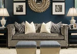 Navy living room with gray sofa i like this pops of