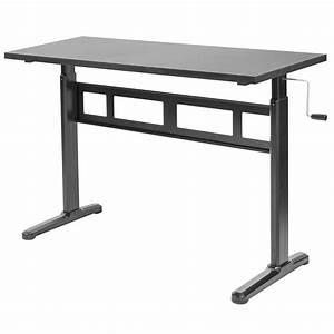 Vivo Black Manual Height Adjustable Sit