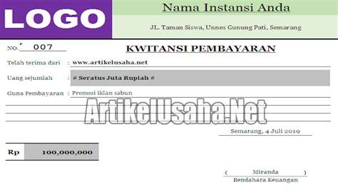 download kwitansi kosong bukti pembayaran format excel
