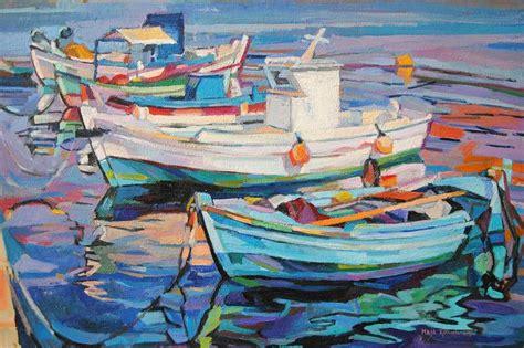 saatchi art fishing boats   harbour painting  maja