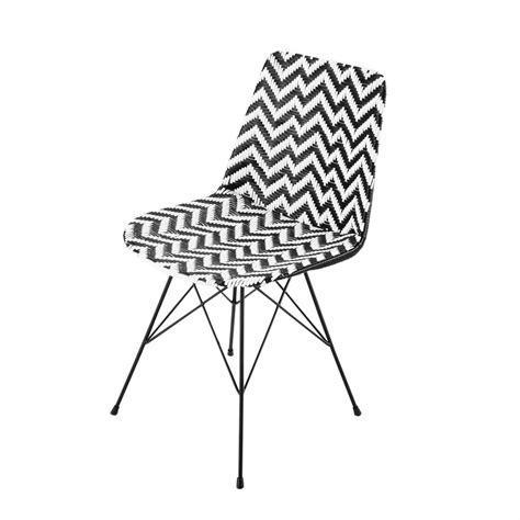 wicker and metal chair in black white zigzag maisons