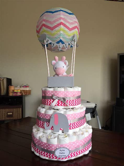 hot air balloon diaper cake baby shower diape