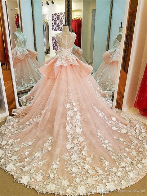 blush royal train arab dubai wedding dresses  lace