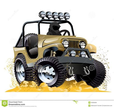 jeep cartoon offroad cartoon jeep royalty free stock photos image 35695958
