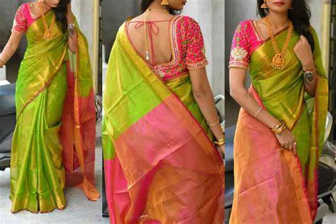 uppada green colour tissue saree pochally sarees