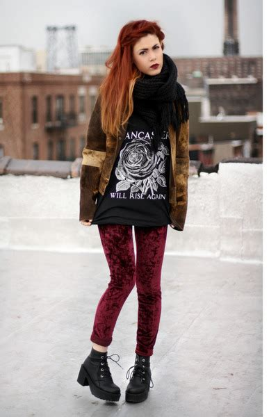 Maroon Evil Twin Leggings Black Orphans Arms Ts Shirts | u0026quot;Red velvetu0026quot; by lehappy | Chictopia