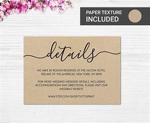 wedding details printable card on kraft paper background With wedding invitations details card wording