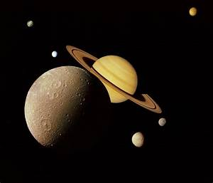 OUTER, SPACE, NASA, MOON, SATURN, DIONE, RINGS, TETHYS ...