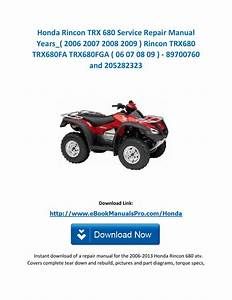 Honda Rincon Trx 680 Service Repair Manual Years   2006