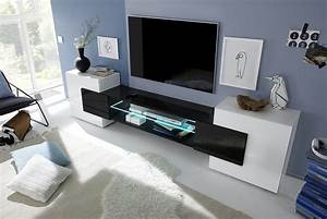Sorriso Low TV Unit White Gloss With GreyBlackNatural