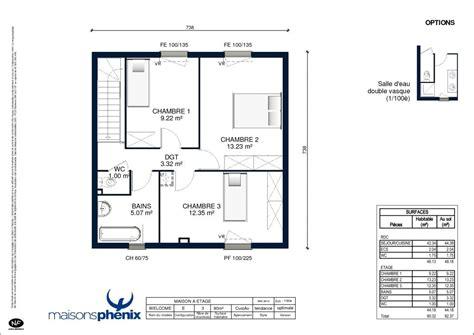 plan maison plain pied 2 chambres 60m2