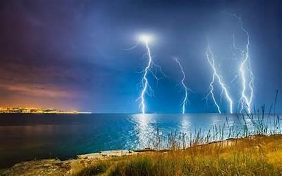 Storm Lightning Clouds Sea Landscape Nature Desktop