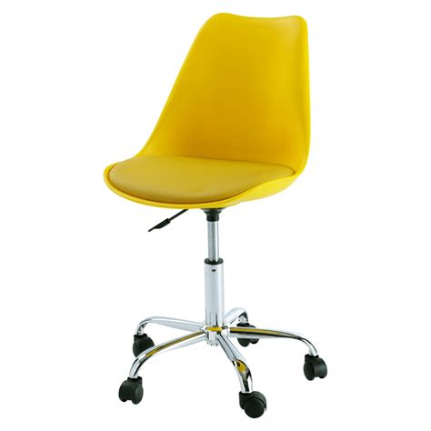 chaise de bureau chaise de bureau à roulettes jaune bristol maisons du monde