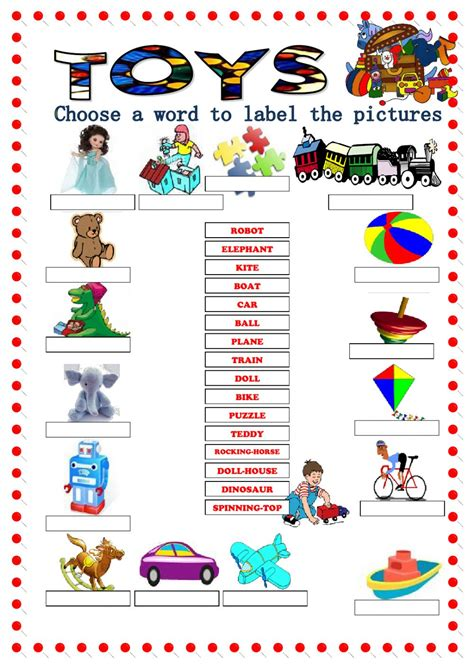 toys vocabulary interactive worksheet