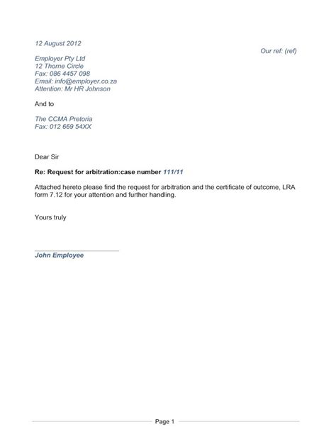 letter request  arbitration document labour law