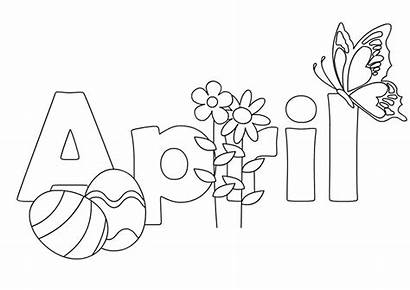 Coloring April Pages Spring Clipart Printable Colouring